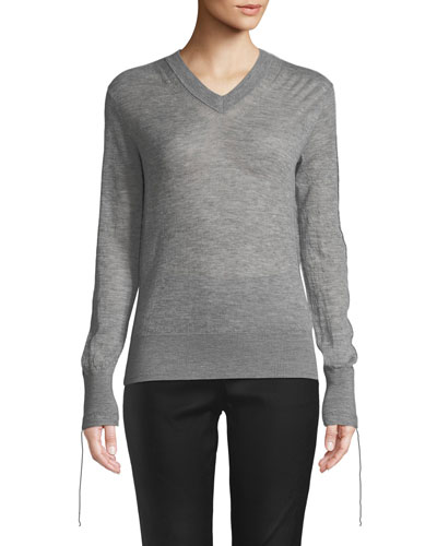 Tie-Cuff Sheer Cashmere V-Neck Sweater