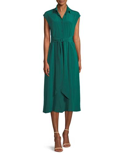 Sleeveless Belted Button-Front Shirtdress