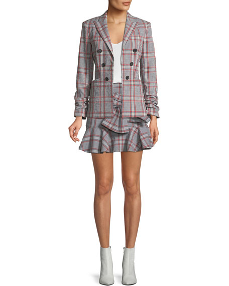 Draped Flounce Picnic Plaid Mini Skirt