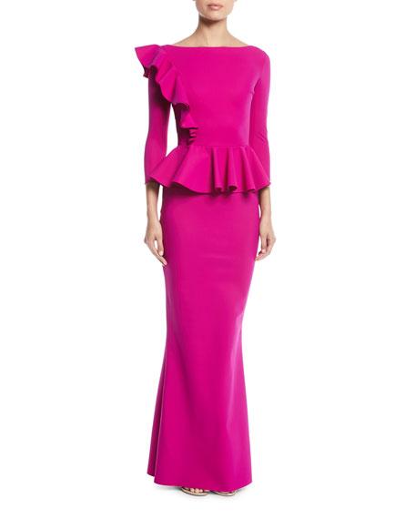 60eb97dc8364d Chiara Boni La Petite Robe Dinara Long Peplum Gown w/ Asymmetric Ruffle