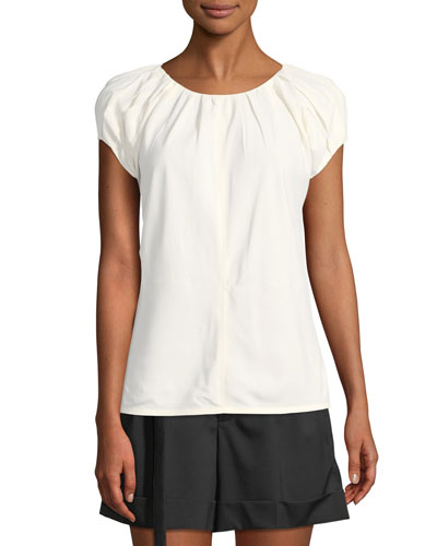Pleated Cap-Sleeve Top Quick Look. Helmut Lang