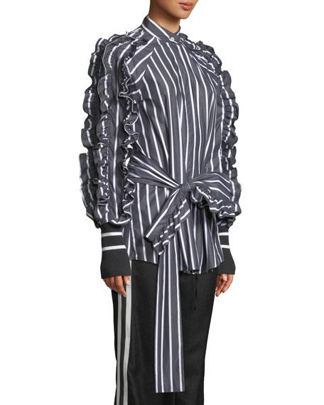 I Am In Awe Of You Striped Ruffle Shirt