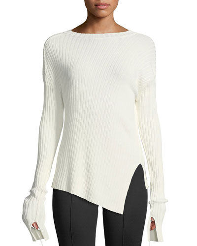 Ribbed Crewneck Split Sweater