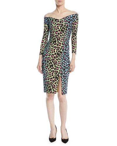 Irene Leopard-Print Bateau-Neck Cocktail Sheath Dress