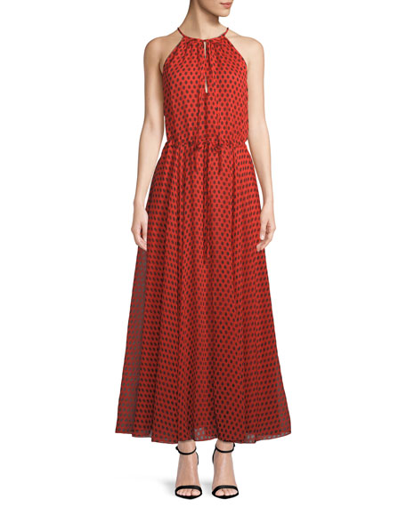 Polka-Dot Crinkled Silk-Chiffon Maxi Dress, Red