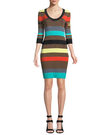 Striped Scoop-Neck Ribbed Sweater Dress, Cherry