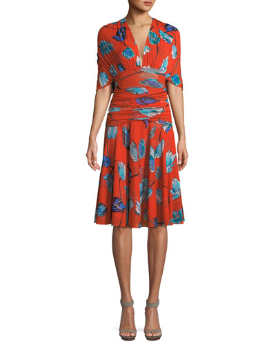 Shirred Floral-Print V-Neck Dress