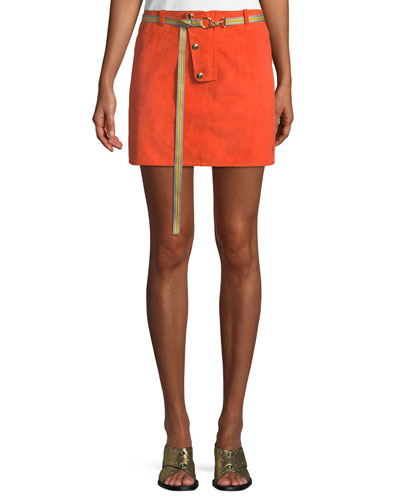 Belted Button-Front Suede Mini Skirt