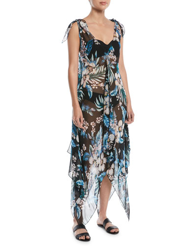 Sleeveless Chiffon Floral-Print Coverup Maxi Dress