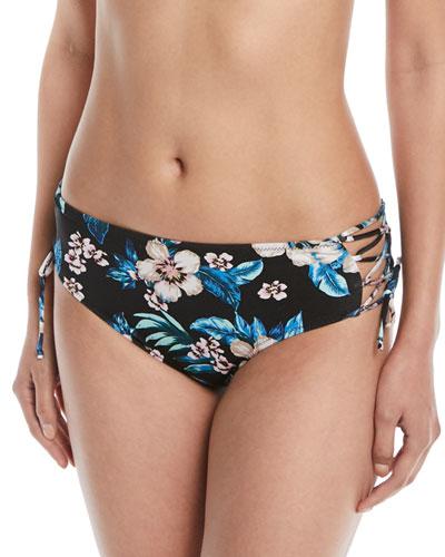 Floral Lace-Up Hipster Swim Bikini Bottoms