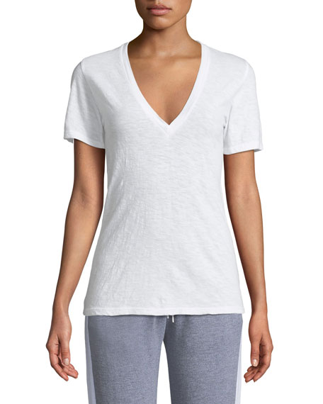 MONROW V-Neck Short-Sleeve Slub Jersey Tee in White