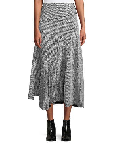Draped Wool Asymmetric Midi Skirt