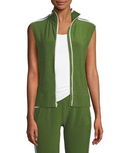 Side-Stripe Sleeveless Turtle Athletic Jacket