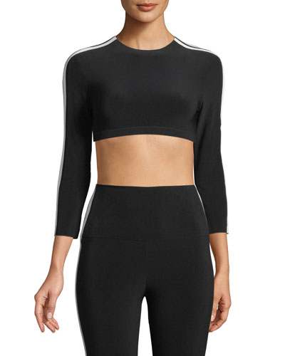 Side-Stripe 3/4-Sleeve Crop Top