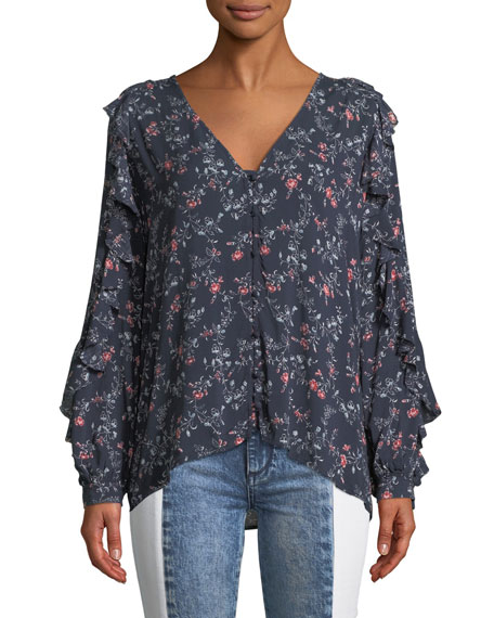 Image 1 of 1: Keena Floral Button-Up Ruffle Top