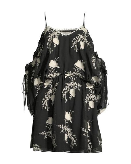 Holden Embroidered Cold-Shoulder Dress