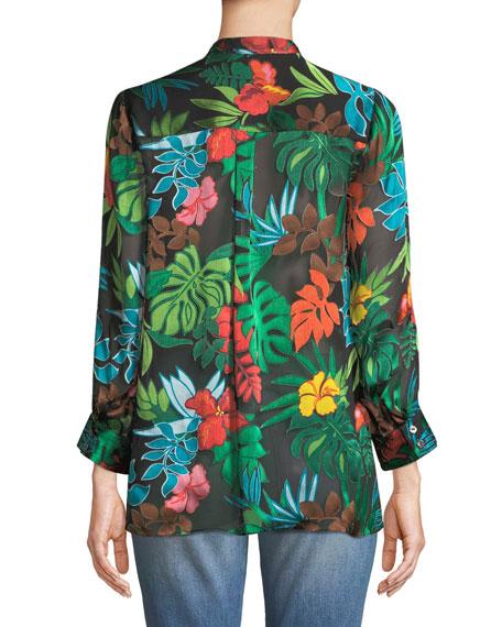 Amos Floral Burnout Long-Sleeve Top
