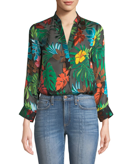 Amos Floral Burnout Long-Sleeve Top