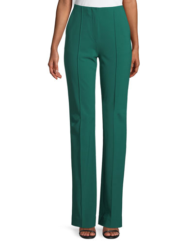 Woven Wool-Stretch Pleated Pants
