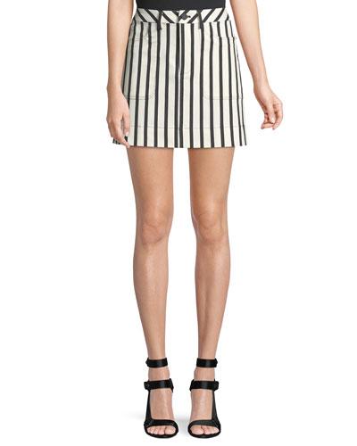 Gail Striped Patch-Pocket Mini Skirt