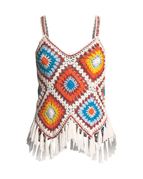 Adelina Sleeveless Crochet Fringe Top