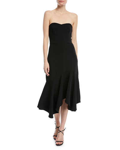 Fitted Strapless Dress w/ Flounce Skirt