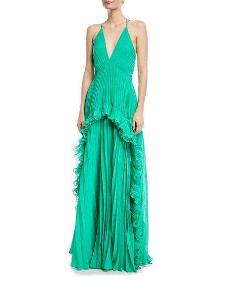 e3465d93a40 Halston Heritage Ruffled PlissÉ-Chiffon Maxi Dress In Green ...