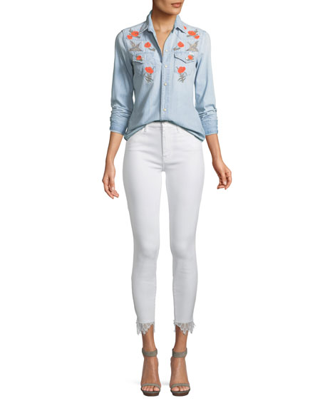 Looker Dagger Lace Trim High-Waisted Jeans