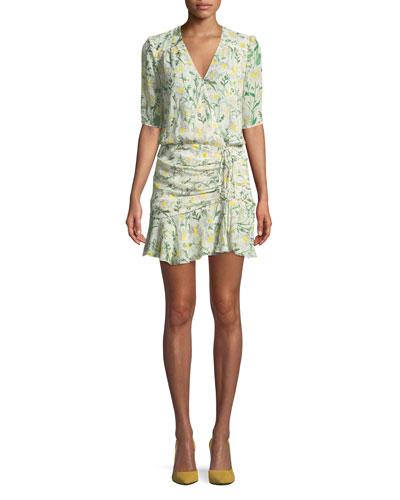 Dakota Daisy-Print Silk Flounce Dress