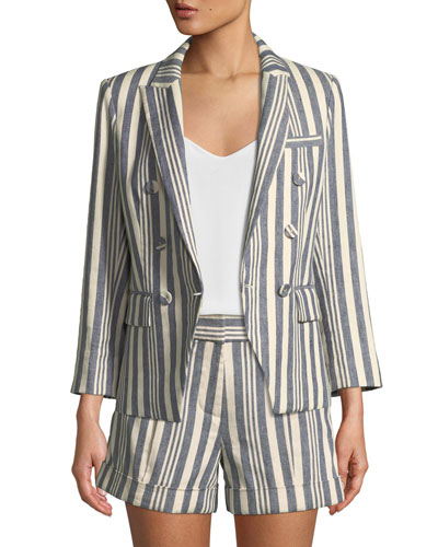 Geneva Striped Double-Breasted Jacket