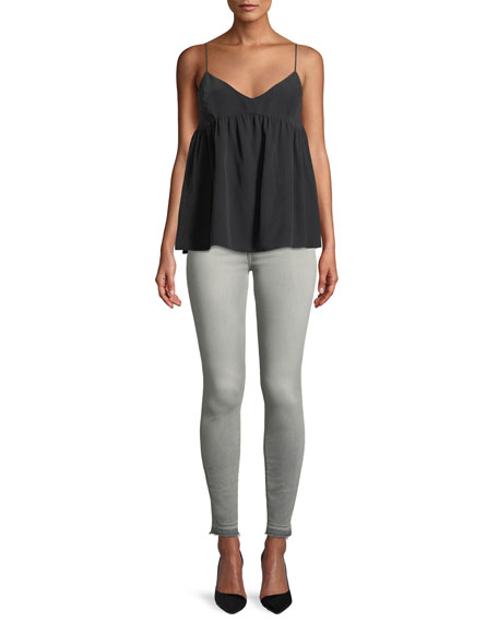The High-Waist Ankle Skinny Jeans with Released Hem, B(Air) Powdered Gray