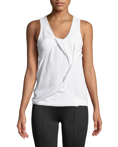 Twisted Drape Scoop-Neck Tank Quick Look. Helmut Lang