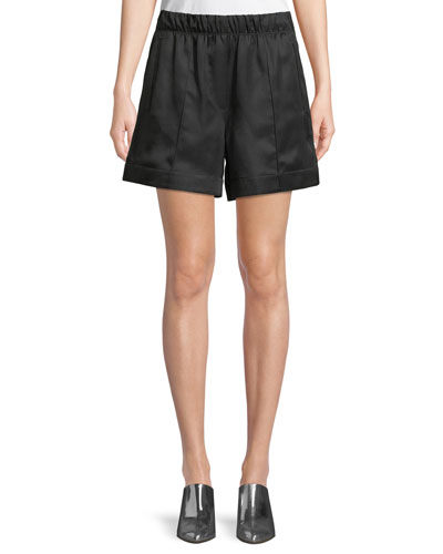 Silky Wide-Leg Pleated Pull-On Shorts