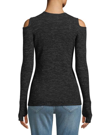 The Melange Cold-Shoulder Sweater