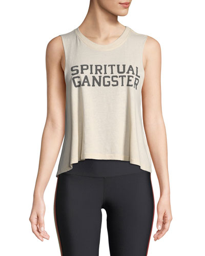 Varsity Cropped Graphic Muscle Tank