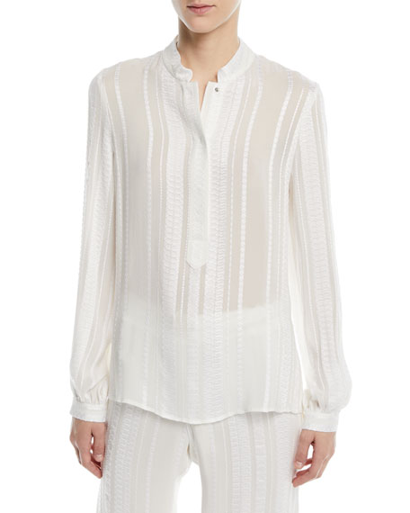 ZEUS AND DIONE Signature Silk Jacquard Blouse in Ivory
