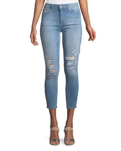 Chrissy High-Rise Skinny Distressed Denim Jeans