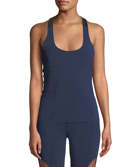 Cushnie T-Back Fitted Tank Top - Blue