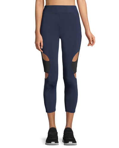 Cropped High-Rise Cutout Side-Stripe Leggings
