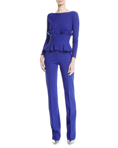 Debra Double-Ruffle Long-Sleeve Jumpsuit