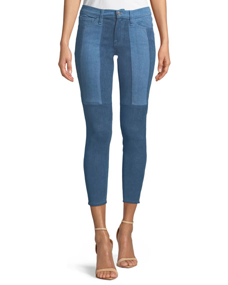 Etienne Marcel CROPPED TWO-TONE STRETCH SKINNY JEANS