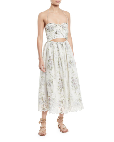 Iris Floral-Print Halter Cutout Midi Dress