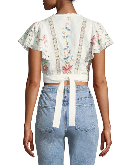 Laelia Cross Stitch Floral Crop Top
