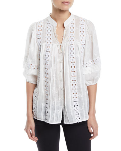Castile Floral Embroidered Button-Down Top