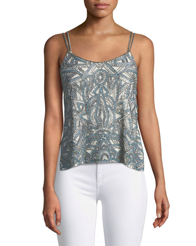 Soleil Embellished Side-Button Cami Top