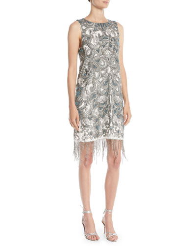 Soleil Mini Cocktail Shift Dress w/ Fringe Hem