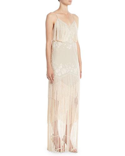 Grandeur Sleeveless Gown w/ Fringe