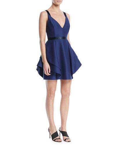 V-Neck Mini Dress w/ Dramatic Flounce Skirt