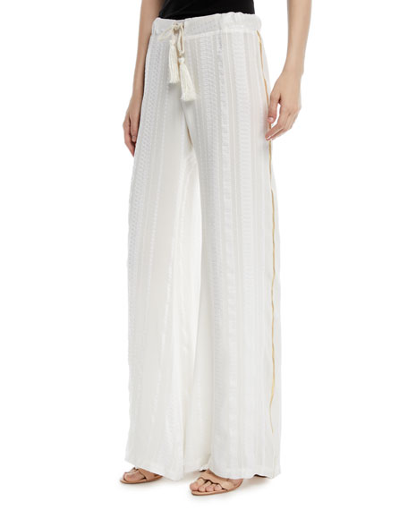 ZEUS AND DIONE Side-Stripe Wide-Leg Pants in Ivory