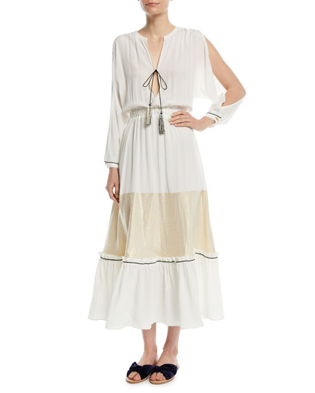 ZEUS AND DIONE Cold-Shoulder Plunge Silk Dress in Ivory